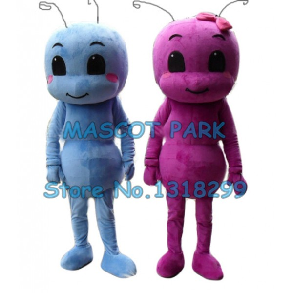 1 pair blue and rose red ant baby Mascot Costume