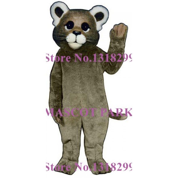 Adorable Grey Baby Cougar Adult Mascot Costume